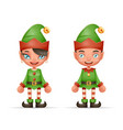 cute cartoon elf boy and girl characters christmas vector image