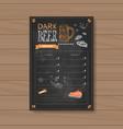 dark beer menu design for restaurant cafe pub vector image
