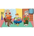 Happy grandparents and their grandchild vector image
