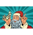 Santa Claus with money New year and Christmas vector image
