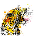 Colored hand sketch of the head of a roaring vector image
