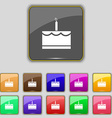 Birthday cake icon sign Set with eleven colored vector image