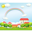 A peaceful village near the hills vector image