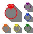 Diamond sign set of red orange vector image