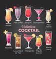 flat style valentine cocktail menu vector image