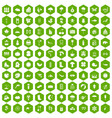 100 landscape icons hexagon green vector image