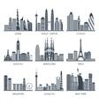 City skyline black icons set vector image
