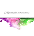 Aquarelle mountains green violet vector image