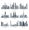 City skyline black icons set vector image