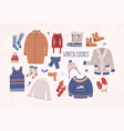 collection of winter clothes and outerwear vector image