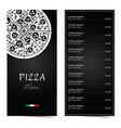 pizza menu design on black set one vector image