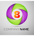 Number eight logo symbol in the colorful circle vector image