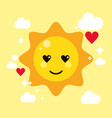 sun yellow kawaii cartoon happy cute icon vector image
