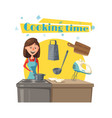 housewife woman at kitchen cooking stove vector image
