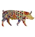 pig in Ukrainian folk ornaments vector image