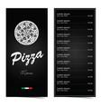 pizza menu design on black set two vector image