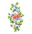 vertical flowers hearts vector image