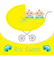 Baby carriage Its twins boys Shower card Flat vector image