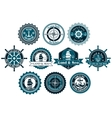 Circle marine heraldic labels vector image