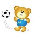 Cute cartoon boy bear playing soccer vector image