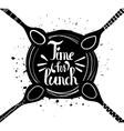 Poster Time for lunch Insulated plate with spoon vector image