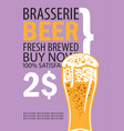 banner for brasserie with glass of beer vector image