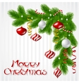 Merry Christmas background with glossy balls vector image