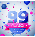 Ninety nine years anniversary celebration on grey vector image