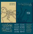 seafood menu design octopus vector image