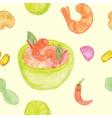 Seamless of Tom Yum Kung Thai Food vector image