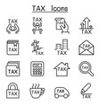 tax icon set in thin line style vector image