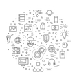 Outline web icons set - programming vector image