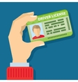 Hand holding id card car driving licence vector image