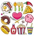 set of readytoeat food icons vector image