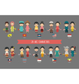 Set of asian men and women in traditional costume vector image