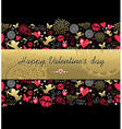 Valentines day greeting card pattern gold icon vector image