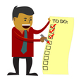 Business man checking to do list vector image