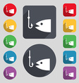 Fishing icon sign A set of 12 colored buttons and vector image