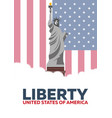 liberty statue of liberty usa flag vector image