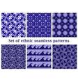Set of ethnic geometric seamless patterns vector image