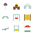 kindergarten playground icons set flat style vector image