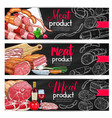 meat sausage chalk sketch banner for bbq design vector image