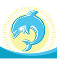 dolphin jumping in water waves symbol of seascape vector image