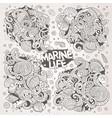 line art set of marine life doodle designs vector image