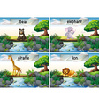 Wild animals standing of the bridge vector image vector image