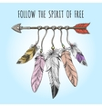 Indians arrow and feathers logo vector image