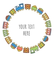 Train with wagon in circle vector image