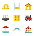 modern children playground icons set flat style vector image