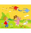 Children playing with kites vector image vector image