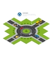Roundabout cars roundabout sign and roundabout vector image